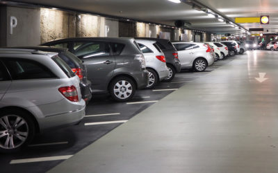 Subtle colours of cars in parking garage