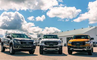 Ford Ranger pick-up trucks lined up